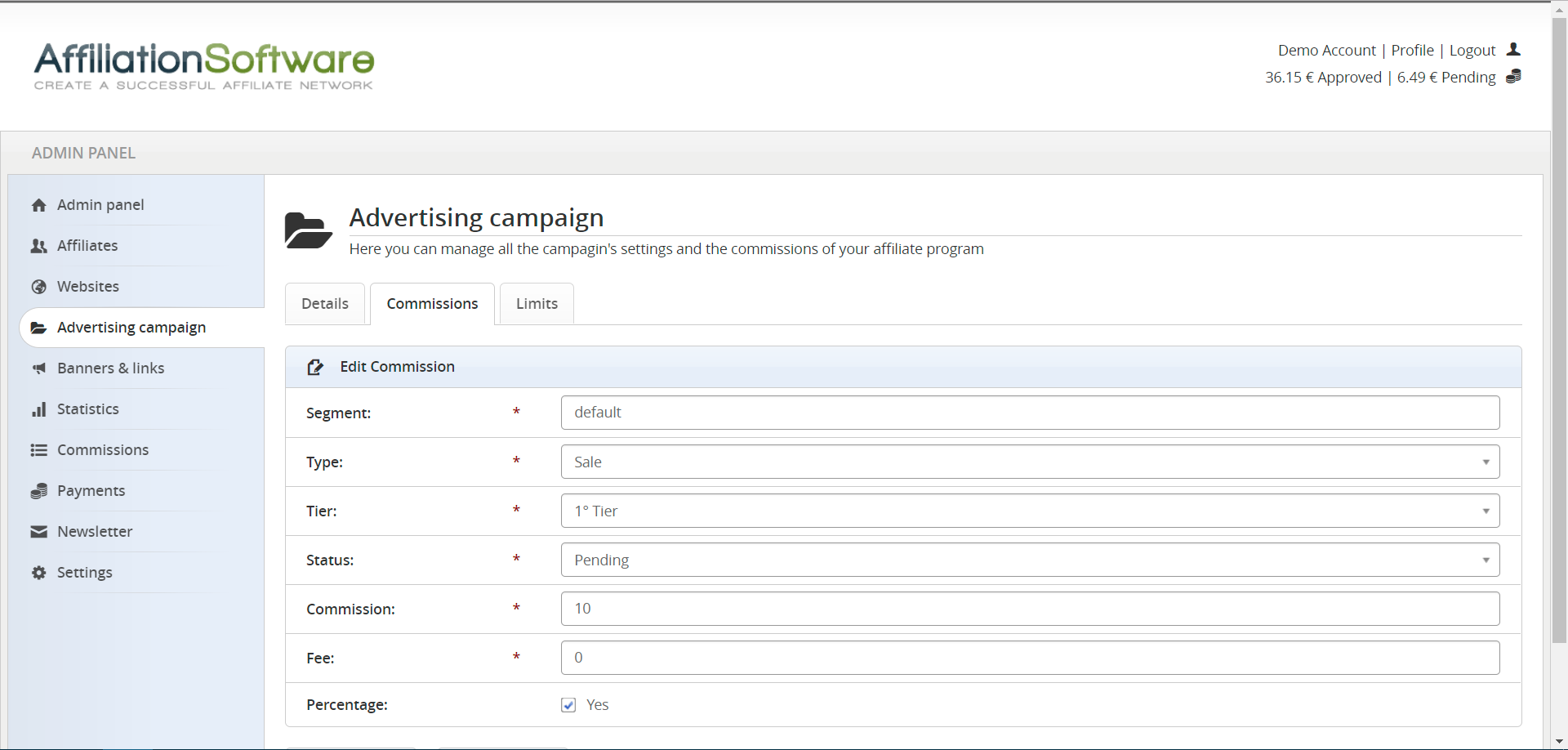 How to set up a campaign's commissions