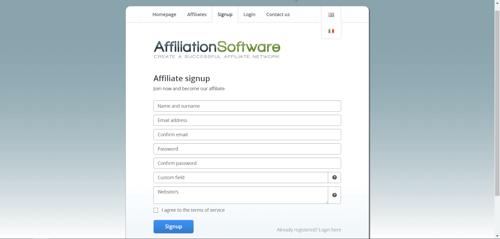Signup page of AffiliationSoftware