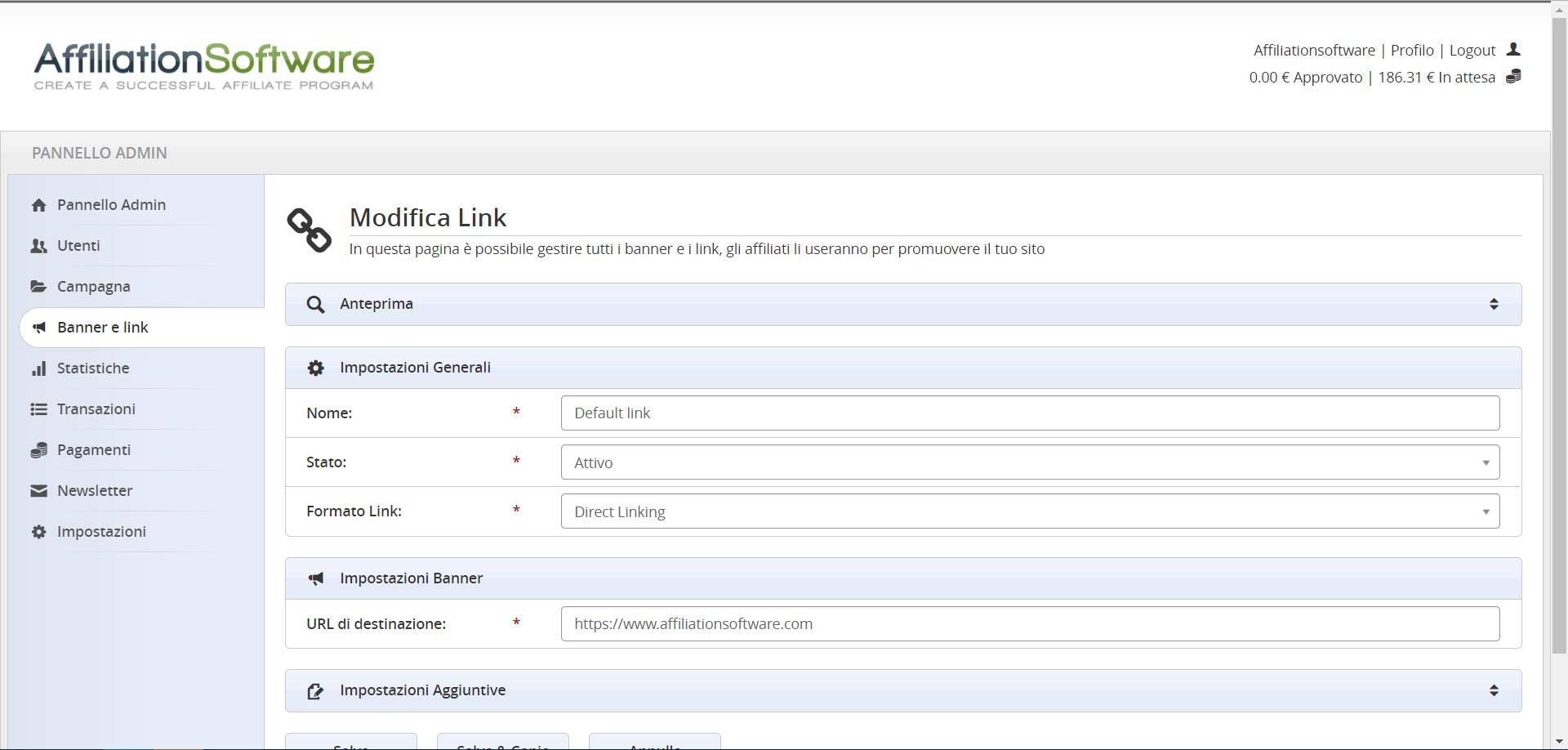 Formati di referral links disponibili