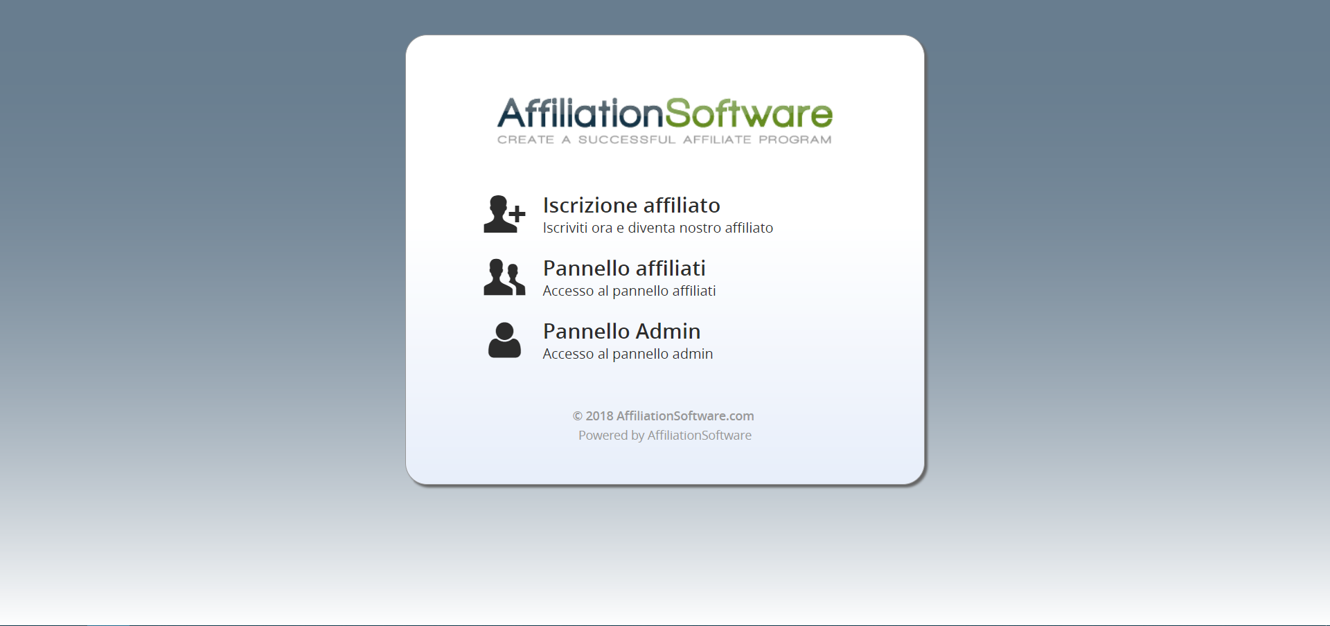 Homepage di AffiliationSoftware