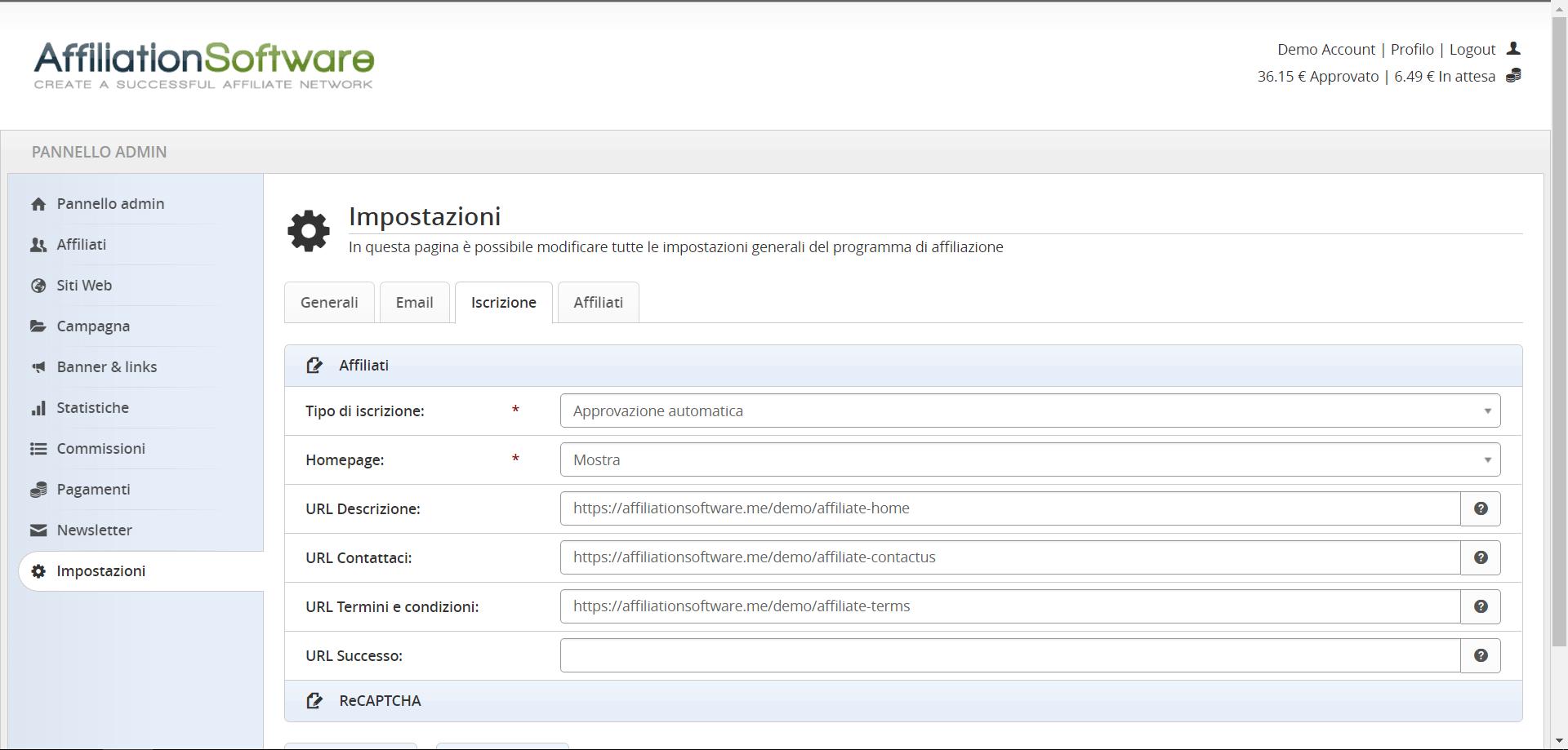 Impostazioni per la pagina di iscrizione