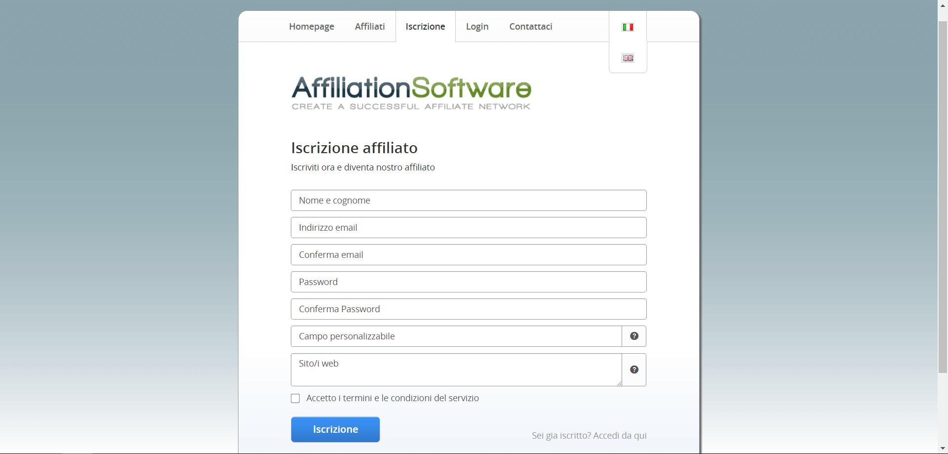 Pagina di iscrizione di AffiliationSoftware