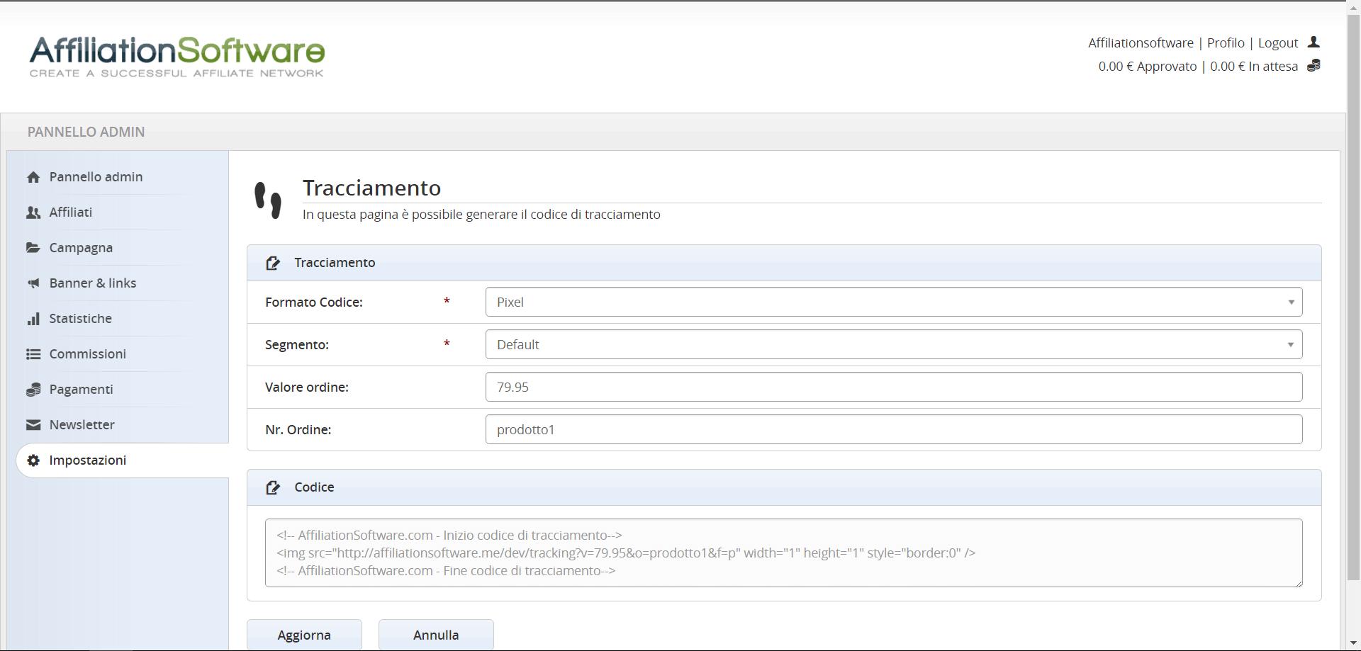 Integrare il codice di tracciamento