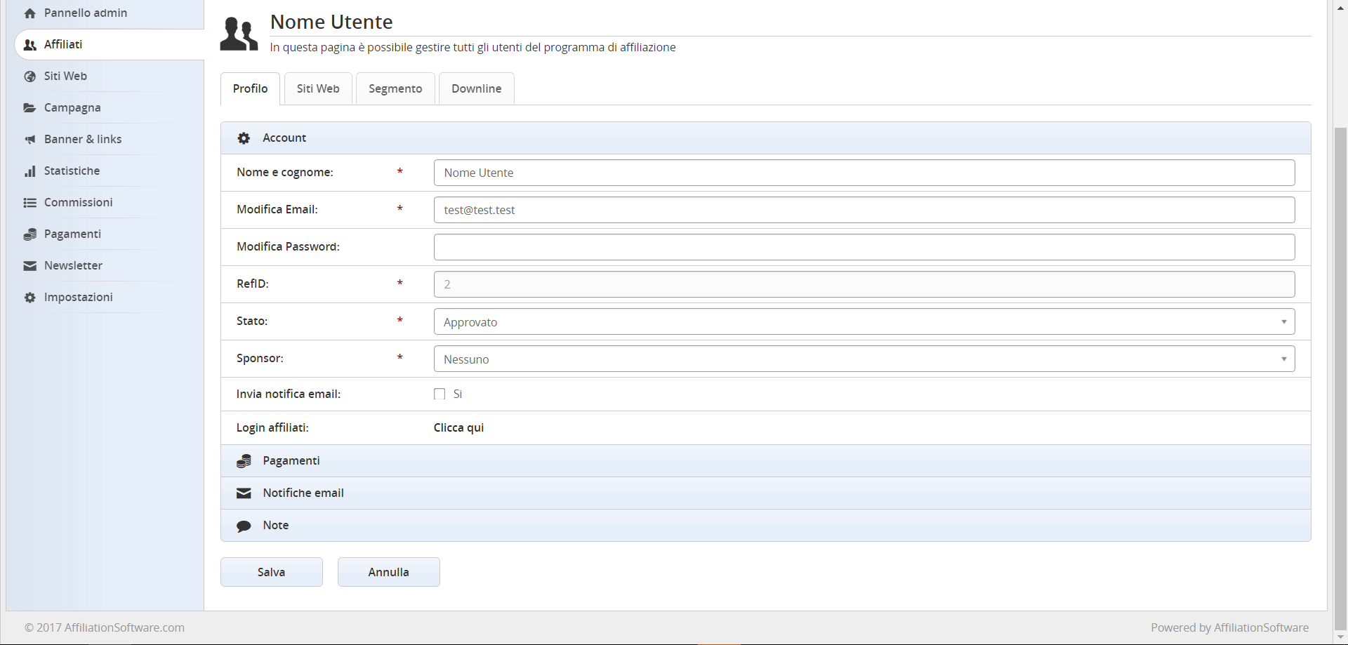 Gestione del profilo dell'utente